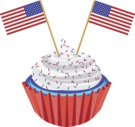 4th of July Independence Day Red White and Blue Cupcake with USA Flags Illustration Stock Vector - 13900467