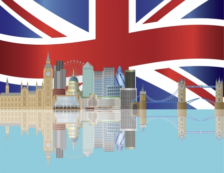 London City Skyline with UK Union Jack Flag Background Illustration