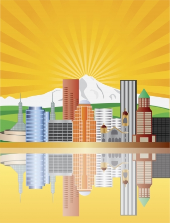 Portland Oregon Downtown Skyline with Mount Hood at Sunrise Illustration Vector