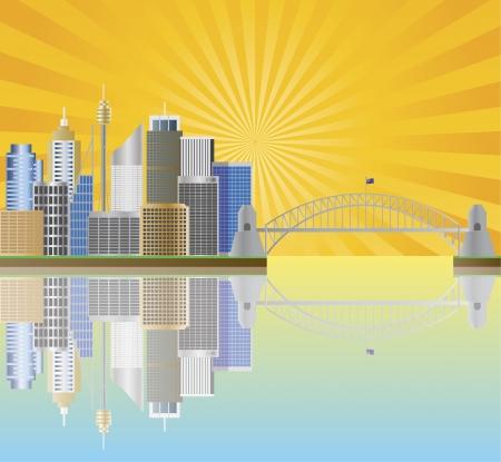 sydney  australia: Sydney Australia Skyline Landmarks Harbour Bridge  with Sun Rays Background Illustration Illustration