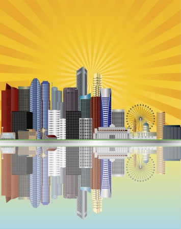 singapore: Singapore City Skyline Reflection along the Mouth of Singapore River with Sun Rays Background Illustration Illustration