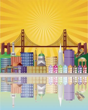 샌프란시스코: 일출 배경 일러스트 레이 션 골든 게이트 브리지와 샌 프란 시스 코 캘리포니아 도시의 스카이 라인