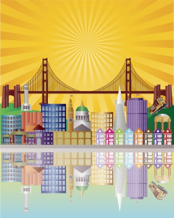 san francisco bay: San Francisco California City Skyline with Golden Gate Bridge with Sunrise Background Illustration Illustration