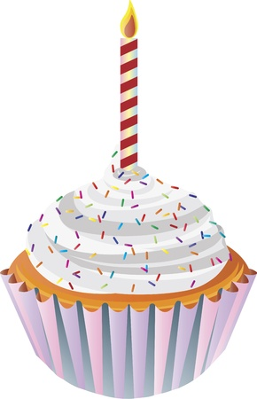 sprinkles: Happy Birthday Cupcake with Colorful Sprinkles and Candle Illustration