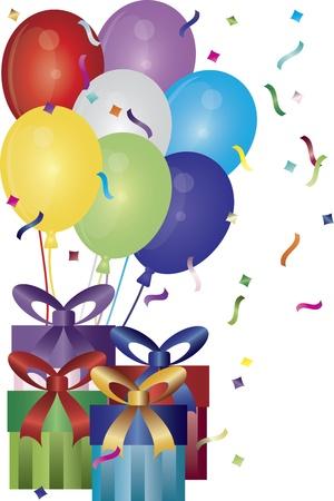 Happy Birthday Presents Balloons and Confetti Illustration
