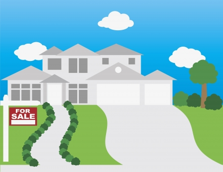 For Sale Sign on Front Lawn of House Illustration Vector