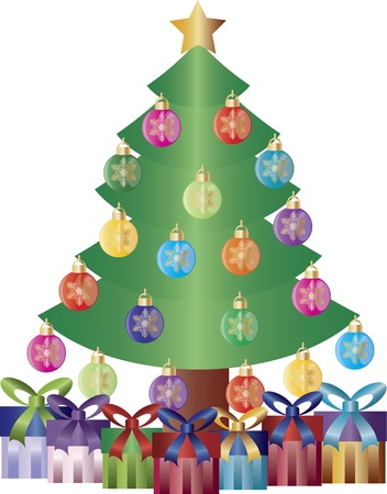 event party festive: Christmas Tree Decorated with Snowflake Ornaments and Gift Wrapped Presents Illustration