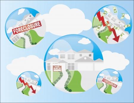 Immobilier bulle immobilière Immobilier avec forclusion et Illustration Flèche Accueil Valeur Banque d'images - 13972583