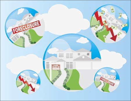 home value: Real Estate Housing Bubble with Foreclosure and Home Value Arrow Illustration