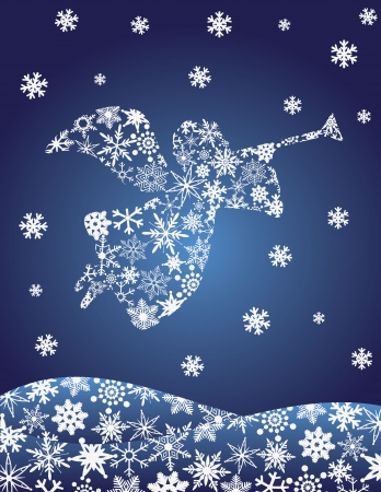 christian angel: �ngel de la Navidad con trompeta silueta con el ejemplo copos de nieve Vectores