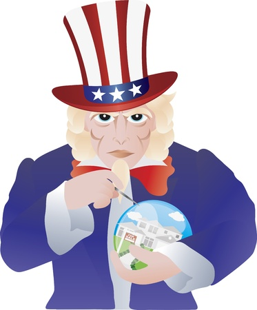 Uncle Sam Bursting the Home Real Estate Bubble Illustration Isolated on White Background Illustration
