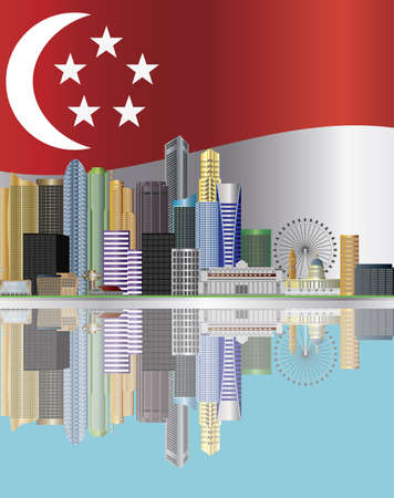 singapore city: Singapore City Skyline Reflection with Singapore Flag Background Illustration Editorial