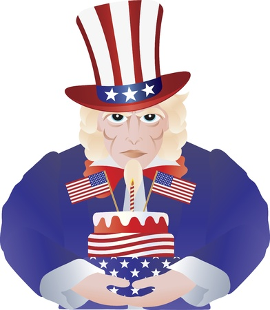 Uncle Sam with Fourth of July Birthday Cake for Independence Day Celebration Illustration Isolated on White Background Stock Vector - 13977883