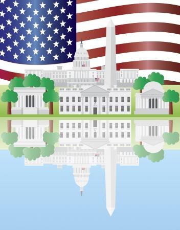 국회 의사당: 워싱턴 DC 미국 국회 의사당 건물 기념물 제퍼슨 및 링컨 기념관이 반사 미국 국기의 그림 일러스트