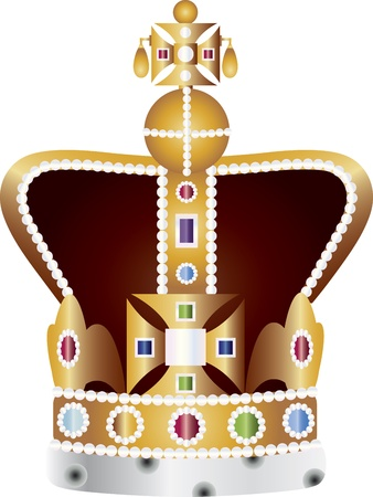 queen elizabeth: English King and Queen Coronation Crown Jewels Illustration Isolated on White Background