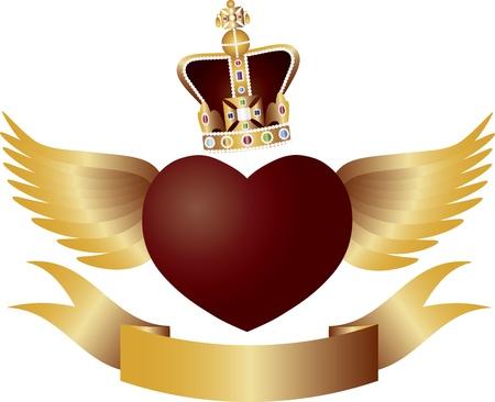 corazon con alas: Flying Coraz�n rojo con las alas de la corona y joyas de Ilustraci�n Banner