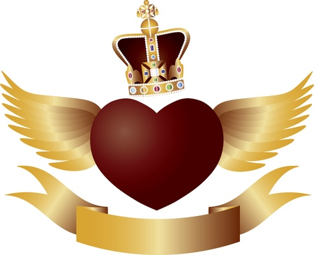 king and queen of hearts: Flying Red Heart with Crown Jewels Wings and Banner Illustration