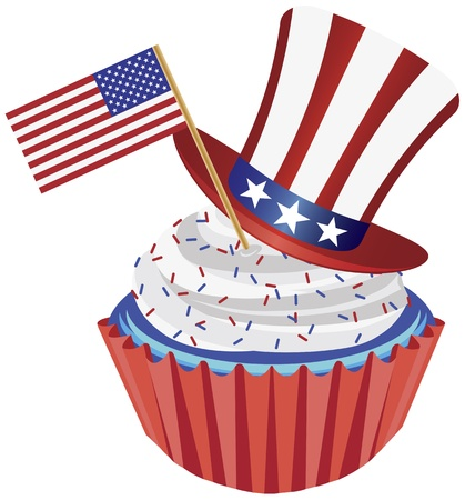 independence day: 4th of July Independence Day Red White and Blue Cupcake with USA Flags and Hat Illustration