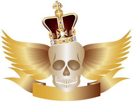 Skull with English Royal Crown Jewels Wings and Banner Illustration Vector