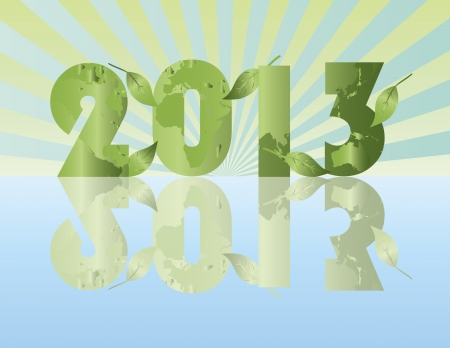 Go Green in the Year of 2013 with Planet Earth Pattern Illustration