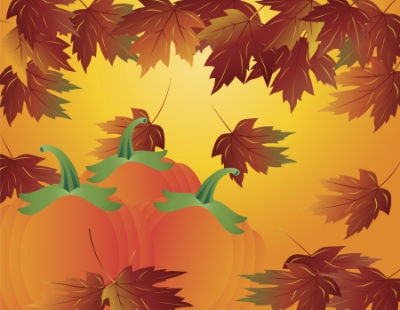 Pumpkin Patch and Maple Tree Leaves Falling in Autumn Season Illustration