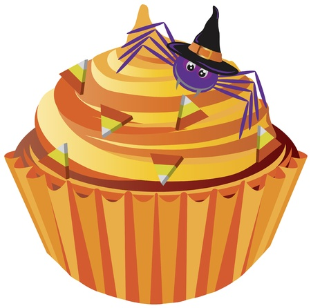 halloween spider: Halloween Cupcake with Spider with Witch Hat and Candy Illustration Illustration