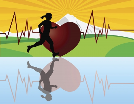 jogging in nature: Female Jogger Running with Mountain Landscape and Heartbeat Background Illustration