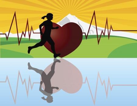 Vrouw Jogger Hardlopen met berglandschap en Heartbeat Achtergrond Illustratie Stock Illustratie