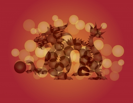 Chinese New Year Zodiac Dragon with Ball and Circle Pattern Illustration