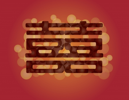Chinese Double Happiness Wedding Symbool met Eternity Circle Pattern Illustratie