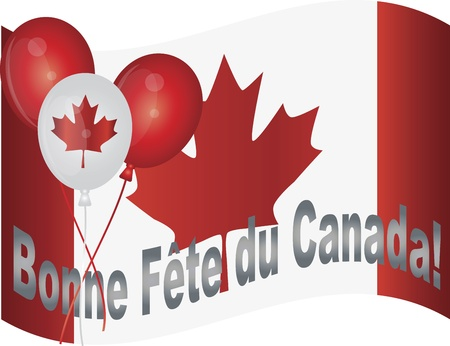 french flag: Canadian Flag and Balloons Wishing Happy Canada Day in French Illustration
