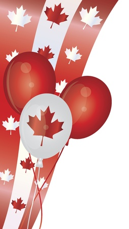 balloon border: Happy Canada Day Balloons with Maple Leaves Swirl Border Illustration