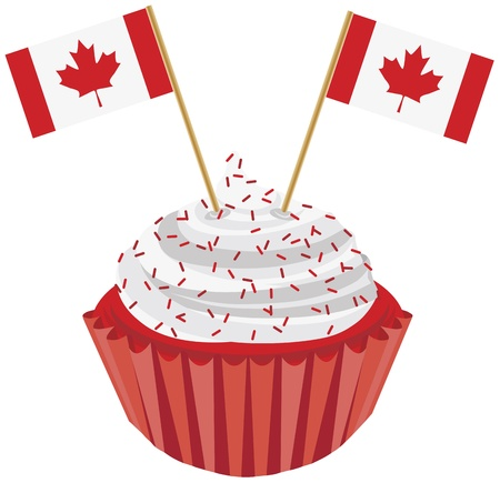 Happy Canada Day Red and White Cupcake with Canadian Flags Illustration Stock Vector - 14087076
