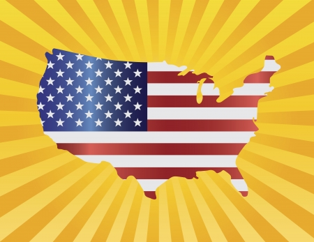 map of usa: USA Flag in Map Silhouette with Sun Rays Background Illustration