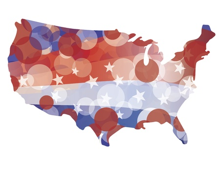 USA Map with Red White and Blue Circle Pattern Bokeh Illustration Stock Vector - 14192665