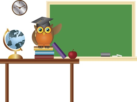 owl illustration: Owl Professor Teacher in Classroom with Chalkboard Globe Books and Apple Illustration Illustration