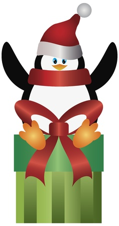 red gift box: Christmas Penguin with Santa Hat and Scarf Sitting on Presents