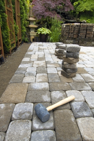 Laying Garden Cement Pavers Patio for Backyard Hardscape Landscaping photo
