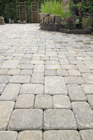 pavers: Laying Garden Cement Pavers Patio for Backyard Hardscape Landscaping with Pond