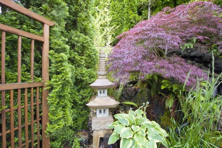 Japanese Inspired Garden with Stone Pagoda Trellis and Maple Tree Stock Photo - 14192679