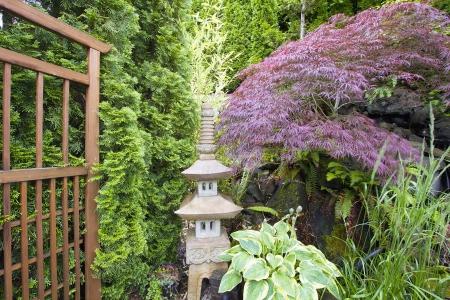 Japanese Inspired Garden with Stone Pagoda Trellis and Maple Tree photo