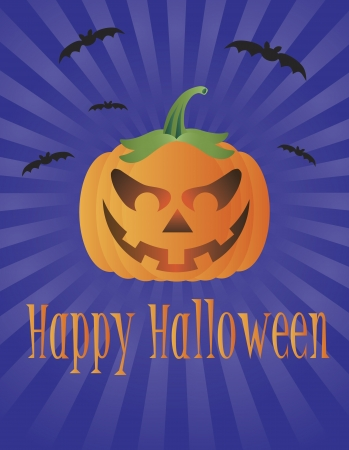 fall harvest: Happy Halloween Pumpkin with Flying Bats and Text Greeting Illustration Illustration