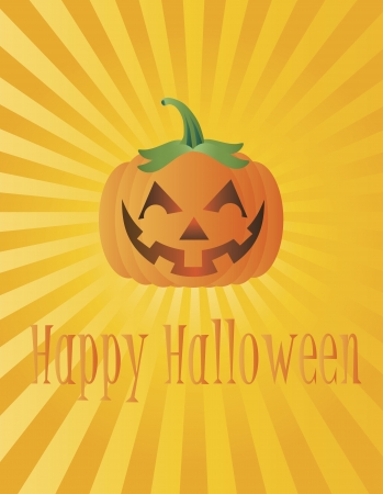 Happy Halloween Pumpkin with Sun Rays and Text Greeting Illustration Vector