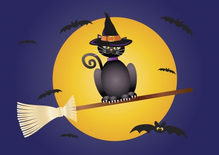 Halloween Black Cat Wearing Witches Hat Flying on Broomstick Illustration Vector