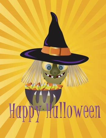 Happy Halloween Witch with Bowl of Candy Trick or Treat Sun Rays Background Illustration
