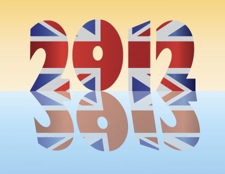 London England 2012 SIlhouette with Union Jack Flag Illustration Stock Vector - 14240483