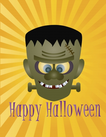 Happy Halloween Frankenstein Monster with Sun Rays and Text Illustration Stock Vector - 14240482