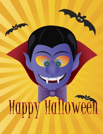 festive occasions: Happy Halloween Count Dracula with Bats Sun Rays and Text Illustration