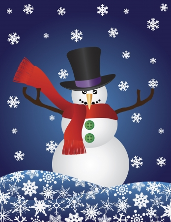 Christmas Snowman with Top Hat and Scarf on Snowflakes Blue Background Illustration