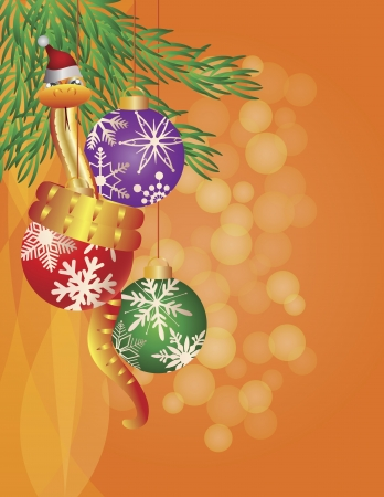 Happy New Year Chinese Snake on Christmas Tree Ornaments with Snowflakes Pattern Illustration Vector